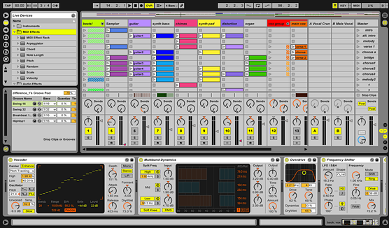 screenshot of ableton daw (digital audio workstation))