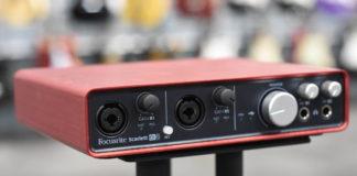 focusrite scarlett 6i6 audio interface on stand