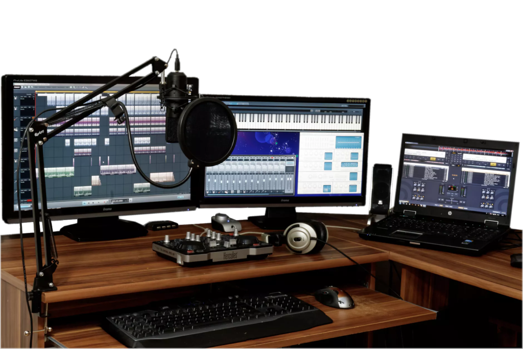 home recording studio daw on screens