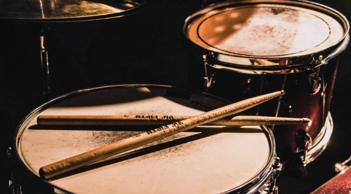 Drum sticks on snare drum