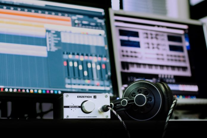 recording studio headphones on desk