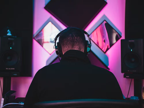 Studio headphones on producer/beatmaker