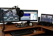 studio audio interface on table