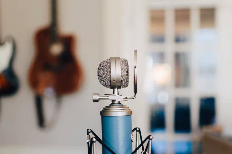 blue condenser studio microphone