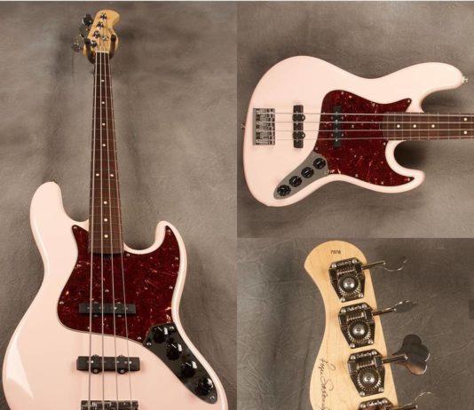 3 photos of a pink fender bass guitar