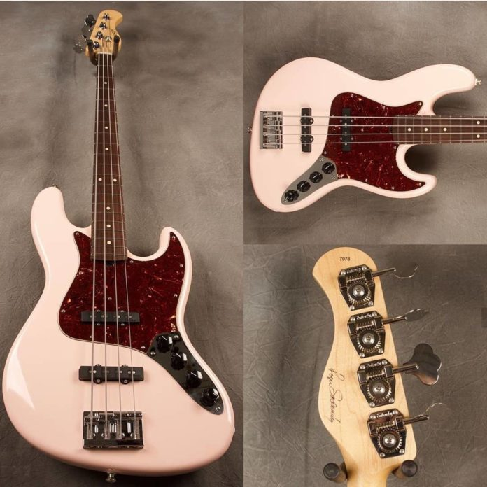 3 photos of a pink fender bass guitar