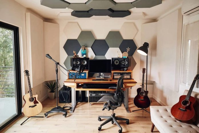 Recording Studio with Acoustic Paneling Treatment