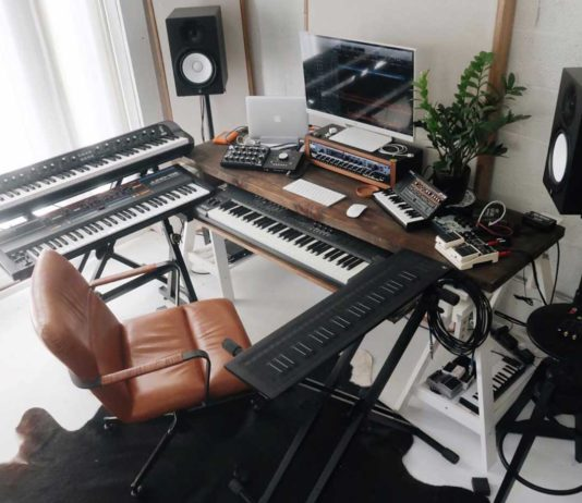 home studio with optimal monitor placement