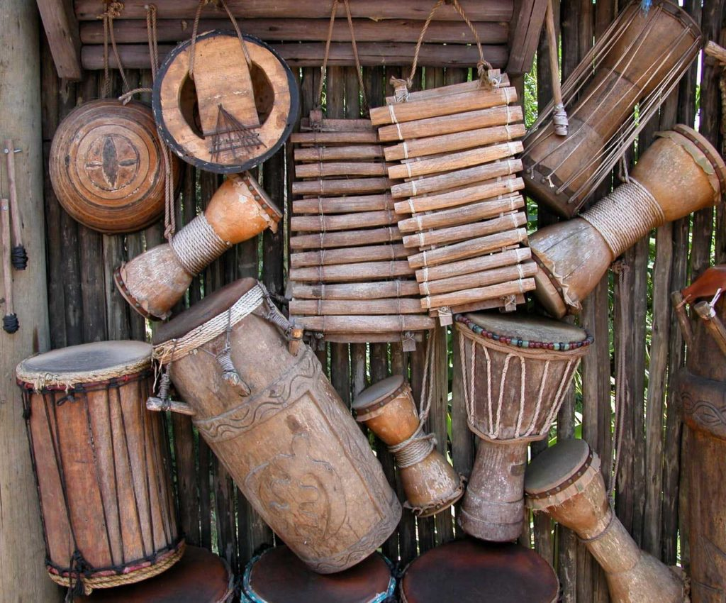 various wood percussion instruments and hand drums