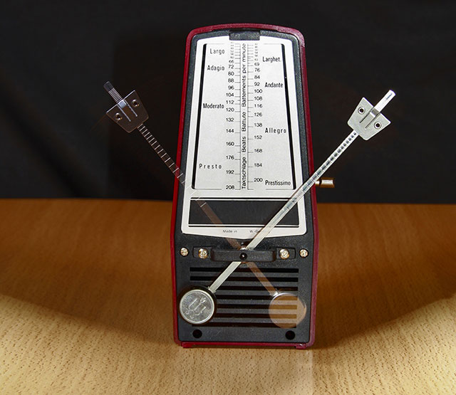 Metronome for a piano on a table
